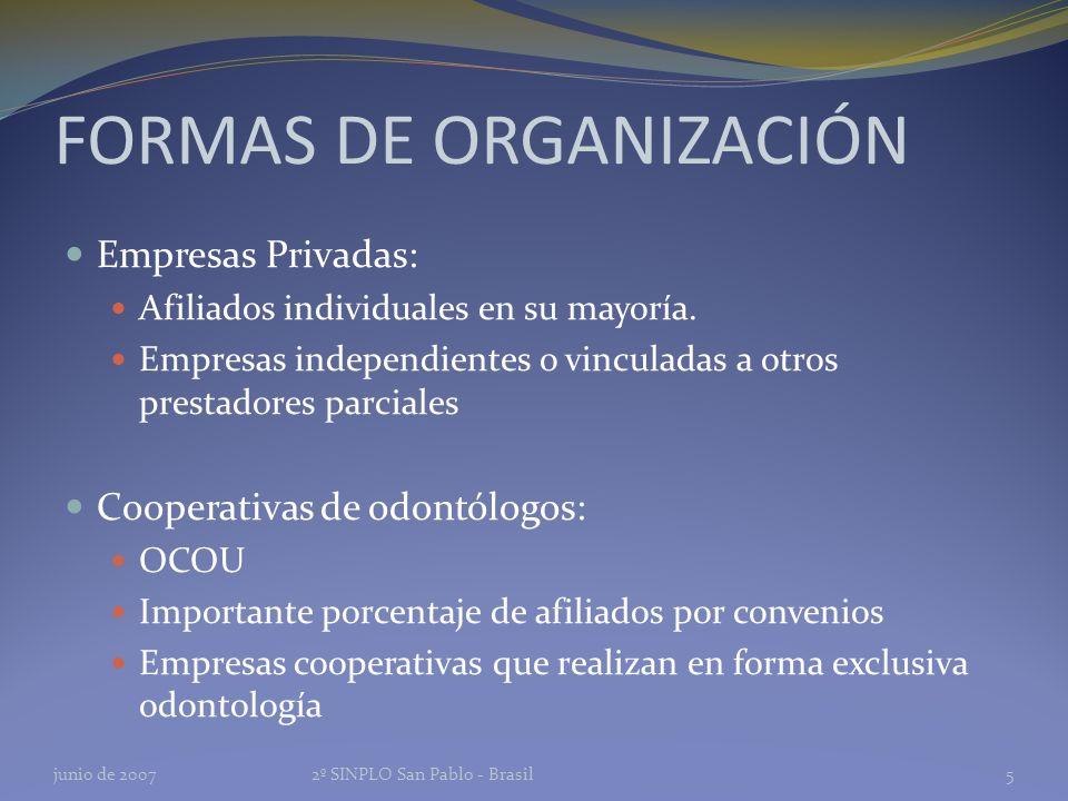 FORMAS DE ORGANIZACIÓN Empresas Privadas: Afiliados individuales en su mayoría.
