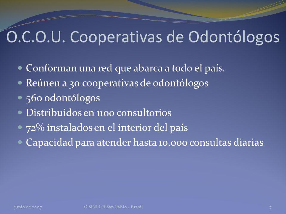 O.C.O.U. Cooperativas de Odontólogos Conforman una red que abarca a todo el país.