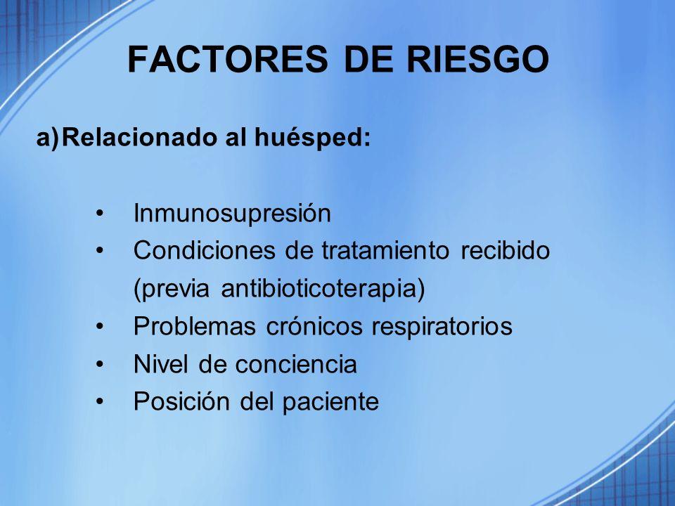 FACTORES DE RIESGO a)Relacionado al huésped: Inmunosupresión Condiciones de tratamiento recibido (previa antibioticoterapia) Problemas crónicos respir