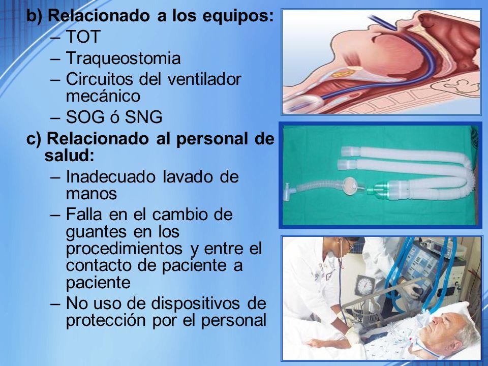 b) Relacionado a los equipos: –TOT –Traqueostomia –Circuitos del ventilador mecánico –SOG ó SNG c) Relacionado al personal de salud: –Inadecuado lavad