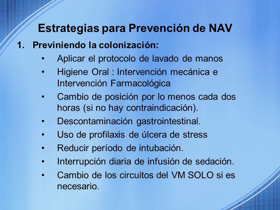 Estrategias para Prevención de NAV 1.Previniendo la colonización: Aplicar el protocolo de lavado de manos Higiene Oral : Intervención mecánica e Inter