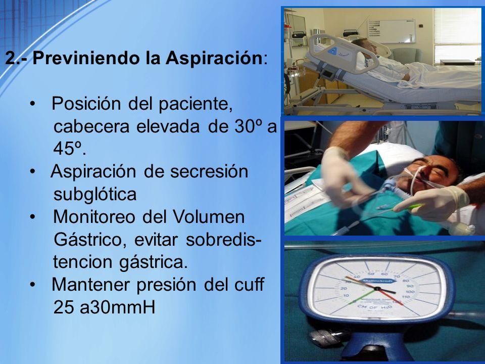 2.- Previniendo la Aspiración: Posición del paciente, cabecera elevada de 30º a 45º. Aspiración de secresión subglótica Monitoreo del Volumen Gástrico