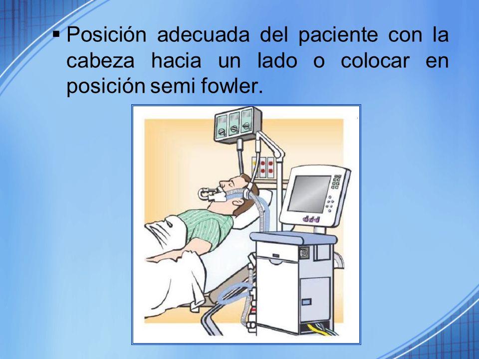 Posición adecuada del paciente con la cabeza hacia un lado o colocar en posición semi fowler.