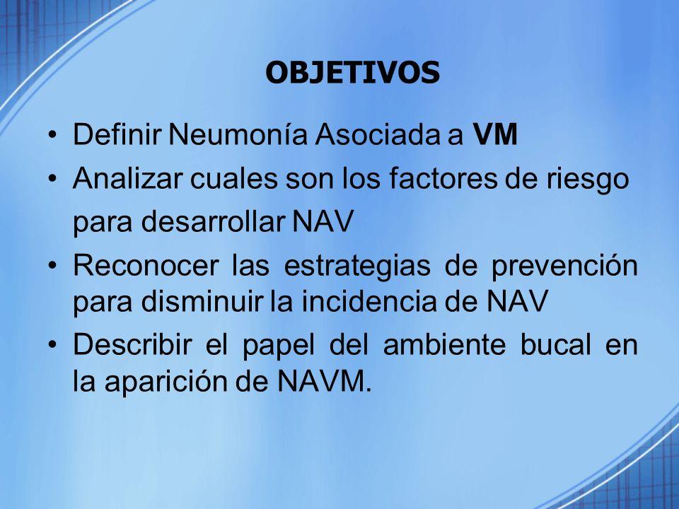 OBJETIVOS Definir Neumonía Asociada a VM Analizar cuales son los factores de riesgo para desarrollar NAV Reconocer las estrategias de prevención para