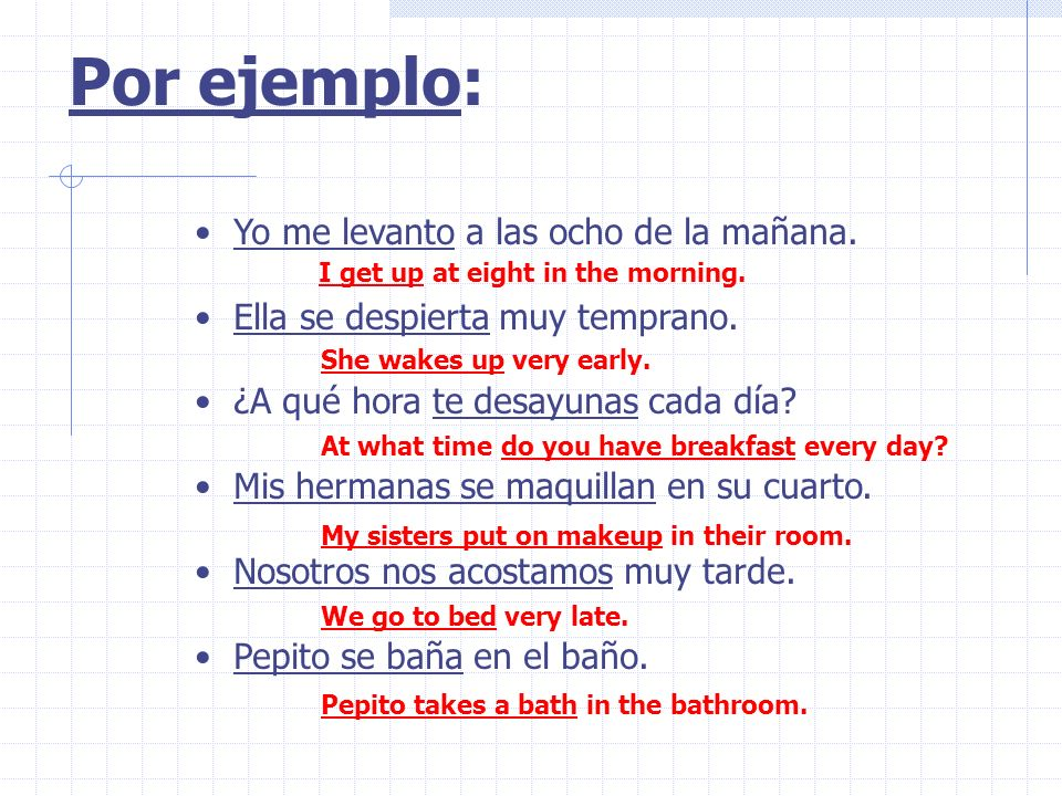 Dormir vs Dormirse The verb forms are the same: duermo, duermes, duerme, dormimos, duermen The difference in form is the addition of the reflexive pronouns: me, te, se, nos, se The difference in meaning is: Dormir : to sleep Dormirse : to fall asleep Reflexive verbs often have a special meaning, such as change in condition – from being awake to being asleep.