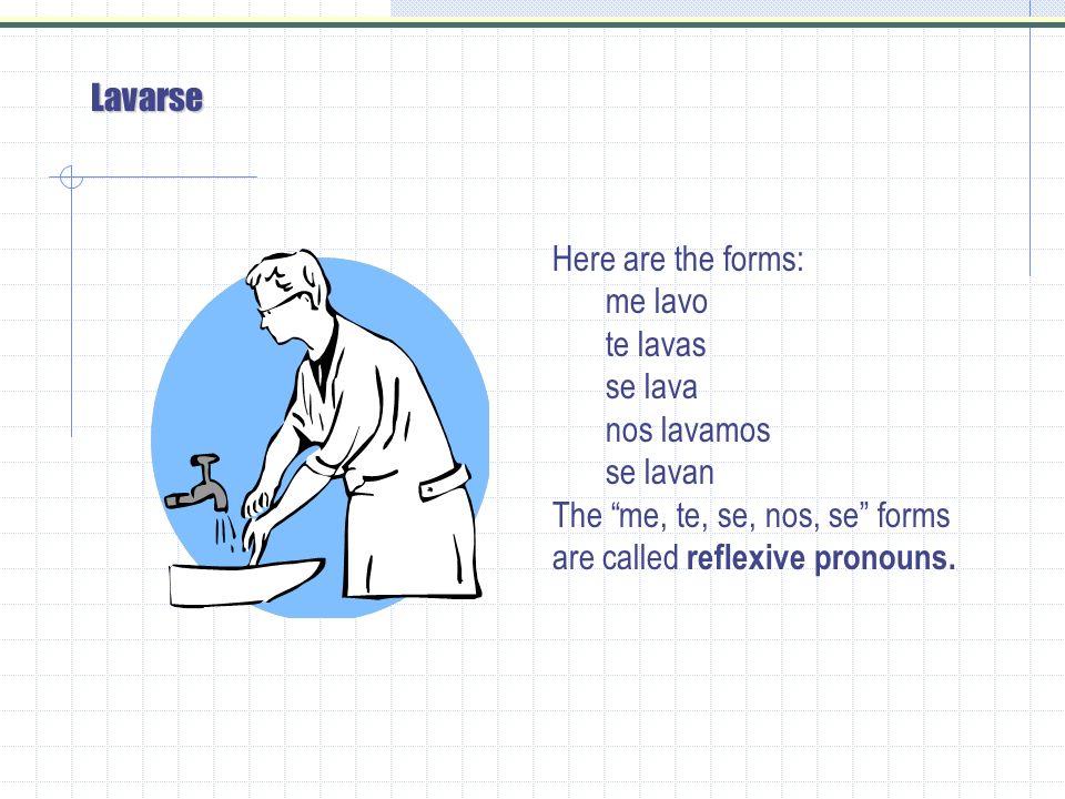 Lavarse Here are the forms: me lavo te lavas se lava nos lavamos se lavan The me, te, se, nos, se forms are called reflexive pronouns.
