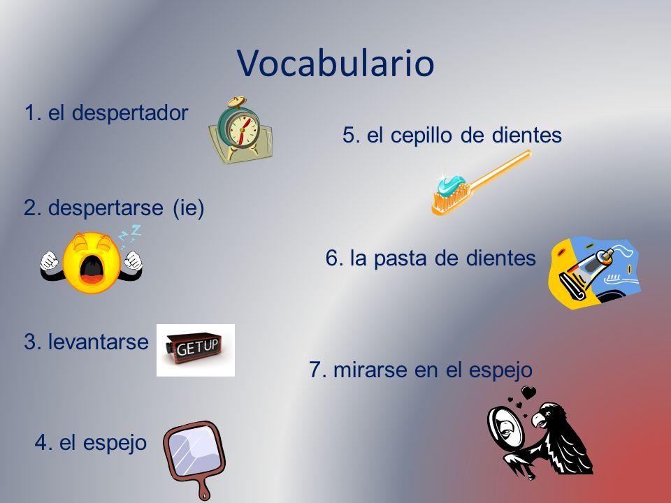 Vocabulario 1. el despertador 2. despertarse (ie) 3. levantarse 4. el espejo 5. el cepillo de dientes 6. la pasta de dientes 7. mirarse en el espejo