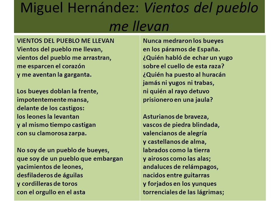 Miguel Hernández: Vientos del pueblo me llevan VIENTOS DEL PUEBLO ME LLEVAN Vientos del pueblo me llevan, vientos del pueblo me arrastran, me esparcen