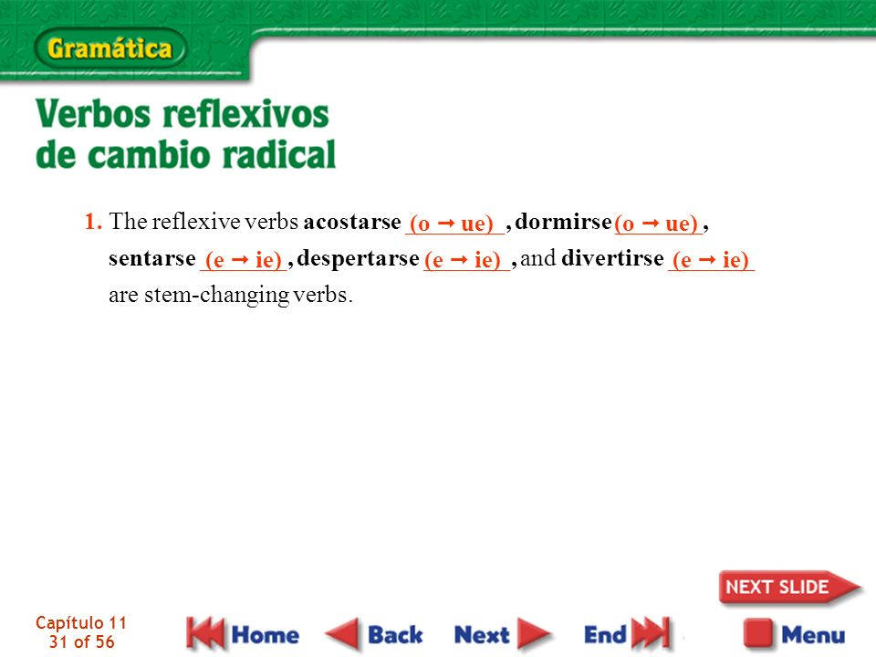 Capítulo 11 31 of 56 1. The reflexive verbs acostarse ________, dormirse _______, sentarse _______, despertarse _______, and divertirse _______ are st