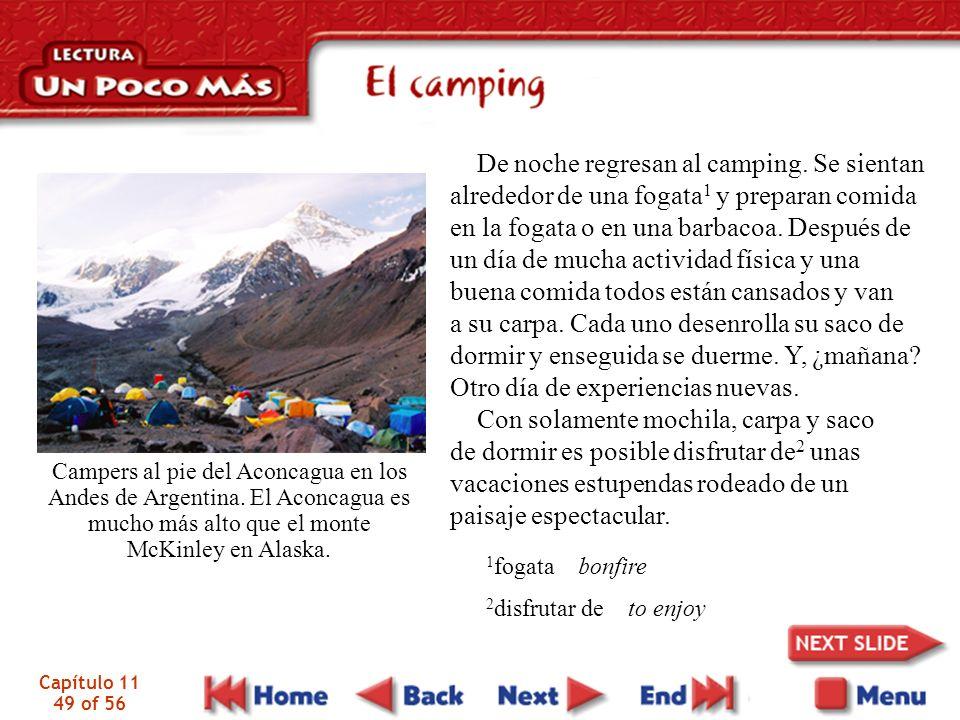 Capítulo 11 49 of 56 De noche regresan al camping. Se sientan alrededor de una fogata 1 y preparan comida en la fogata o en una barbacoa. Después de u