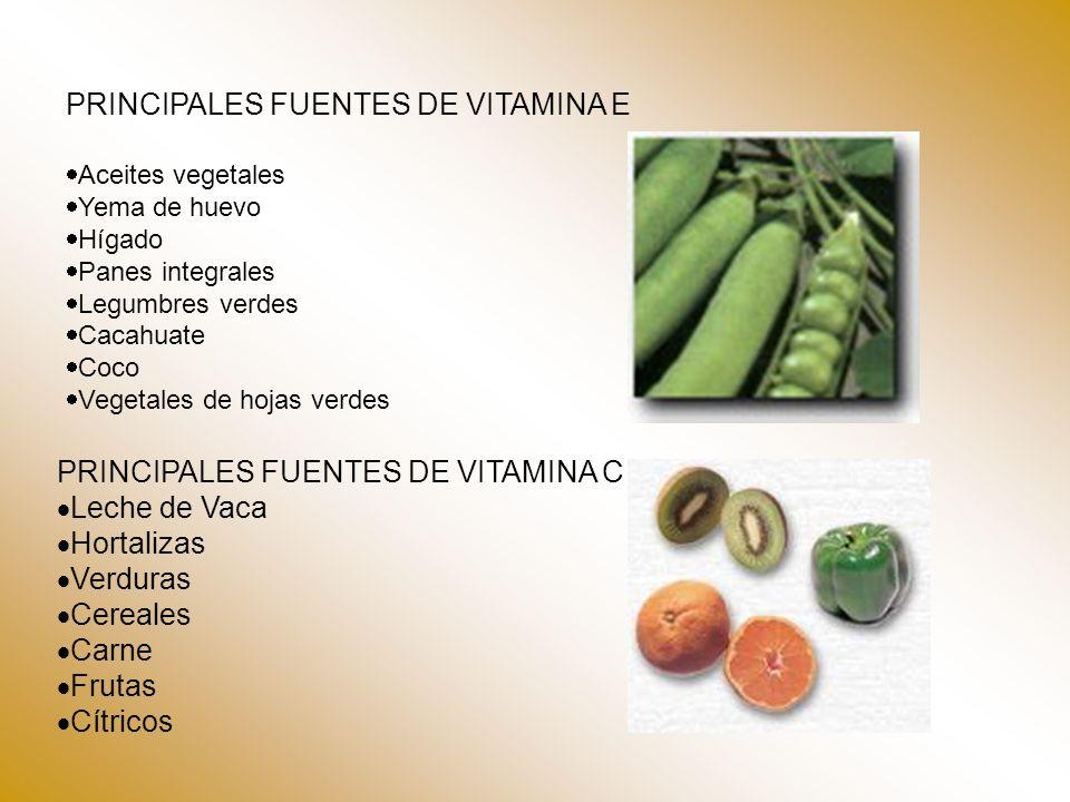PRINCIPALES FUENTES DE VITAMINA E Aceites vegetales Yema de huevo Hígado Panes integrales Legumbres verdes Cacahuate Coco Vegetales de hojas verdes PR