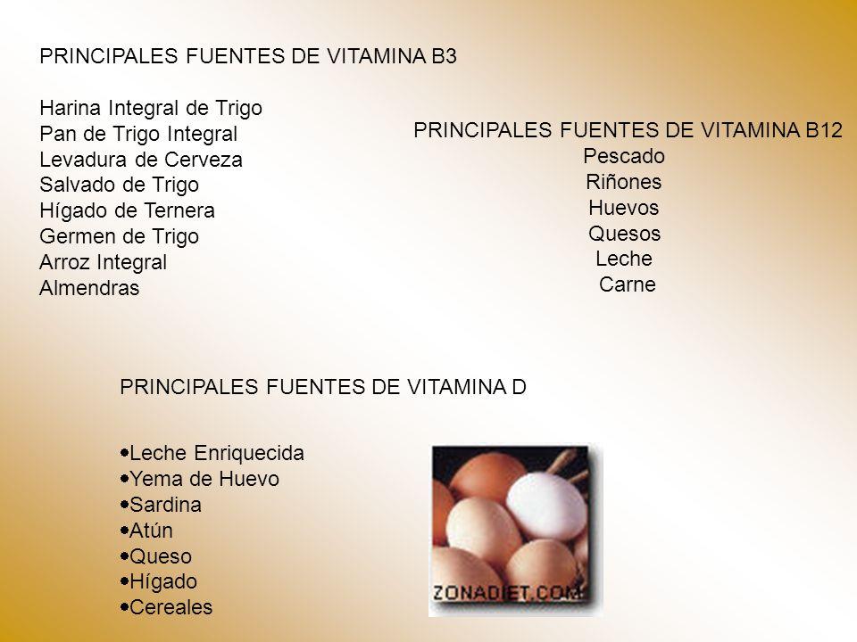 PRINCIPALES FUENTES DE VITAMINA B3 Harina Integral de Trigo Pan de Trigo Integral Levadura de Cerveza Salvado de Trigo Hígado de Ternera Germen de Tri