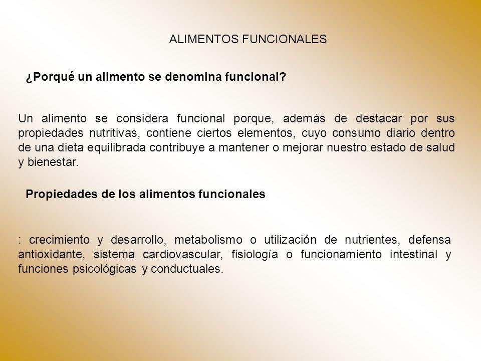 ALIMENTOS FUNCIONALES ¿Porqué un alimento se denomina funcional? Un alimento se considera funcional porque, además de destacar por sus propiedades nut