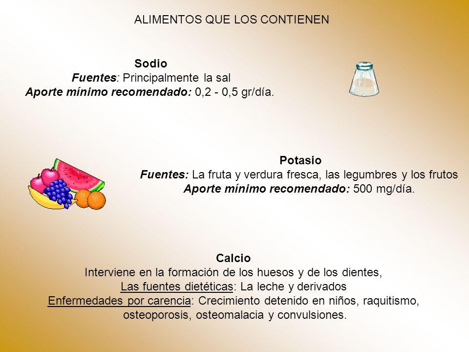 ALIMENTOS QUE LOS CONTIENEN Sodio Fuentes: Principalmente la sal Aporte mínimo recomendado: 0,2 - 0,5 gr/día. Potasio Fuentes: La fruta y verdura fres