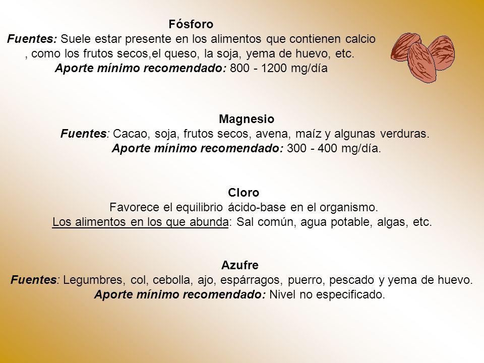 Fósforo Fuentes: Suele estar presente en los alimentos que contienen calcio, como los frutos secos,el queso, la soja, yema de huevo, etc. Aporte mínim