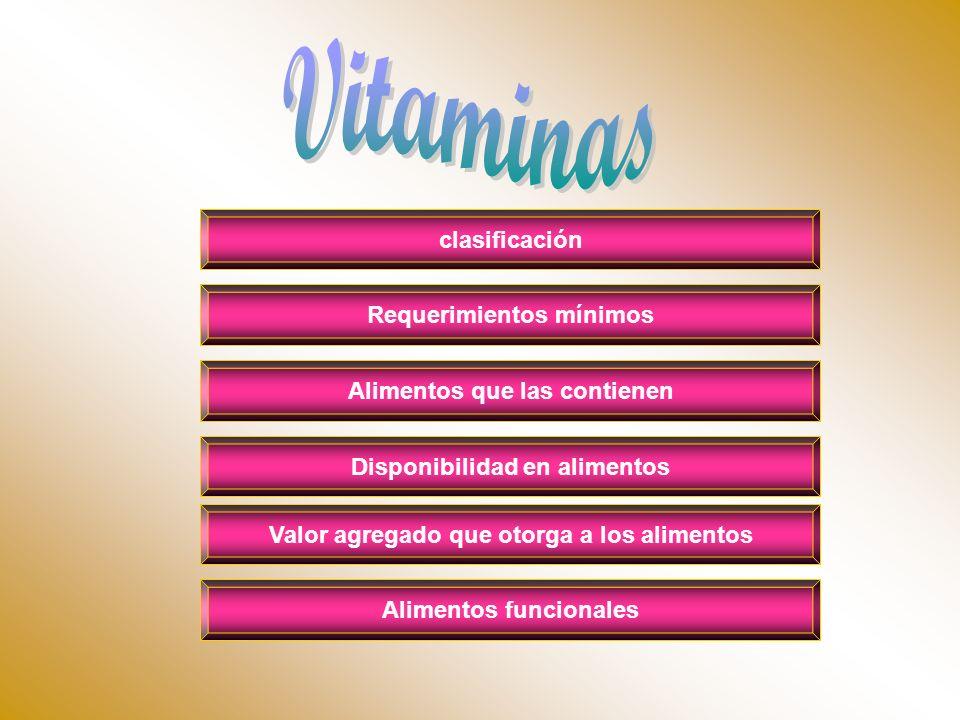 clasificación Alimentos que las contienen Requerimientos mínimos Disponibilidad en alimentos Alimentos funcionales Valor agregado que otorga a los ali