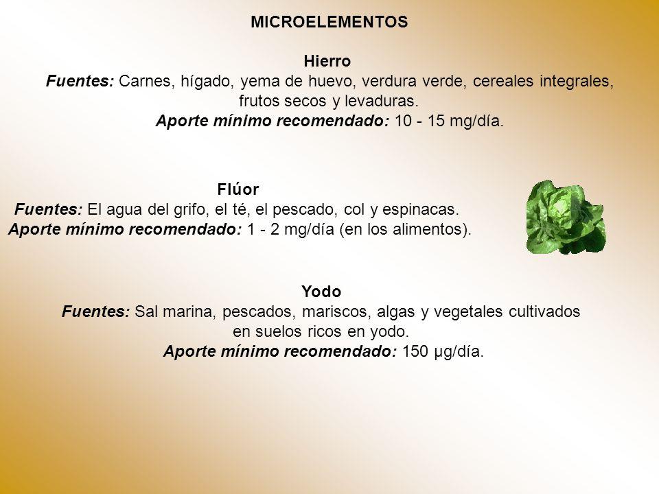 MICROELEMENTOS Hierro Fuentes: Carnes, hígado, yema de huevo, verdura verde, cereales integrales, frutos secos y levaduras. Aporte mínimo recomendado: