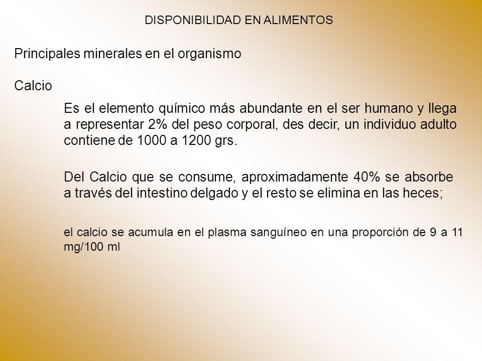 DISPONIBILIDAD EN ALIMENTOS Principales minerales en el organismo Calcio Es el elemento químico más abundante en el ser humano y llega a representar 2