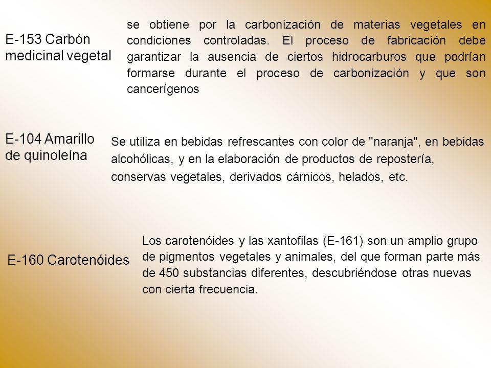 E-153 Carbón medicinal vegetal se obtiene por la carbonización de materias vegetales en condiciones controladas.
