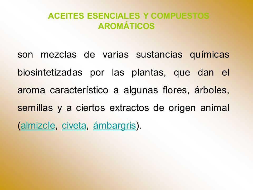 ACEITES ESENCIALES Y COMPUESTOS AROMÁTICOS son mezclas de varias sustancias químicas biosintetizadas por las plantas, que dan el aroma característico