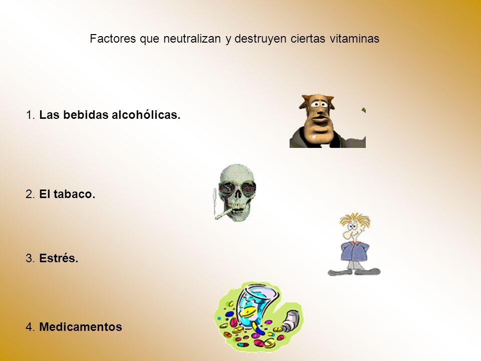 Factores que neutralizan y destruyen ciertas vitaminas 1. Las bebidas alcohólicas. 2. El tabaco. 3. Estrés. 4. Medicamentos