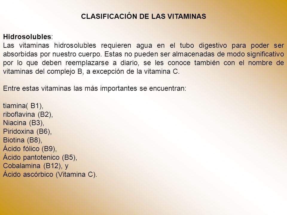 Vitamina CVitamina C o ácido ascórbico (antiescorbútica) El enantiómero L del ácido ascórbico (ascórbico procede de su capacidad para prevenir y curar el escorbuto), también conocido como vitamina C, se encuentra en verduras y frutas frescas y en los zumos de cítricos Complejo B Vitamina B1Vitamina B1 o tiamina (antineurítica) Vitamina B2Vitamina B2 o riboflavina Vitamina B3Vitamina B3, vitamina PP o niacina Vitamina B5Vitamina B5 o ácido pantoténico Vitamina B6Vitamina B6 o piridoxina Vitamina B8Vitamina B8, vitamina H o biotina Vitamina B9Vitamina B9, vitamina M o ácido fólico.