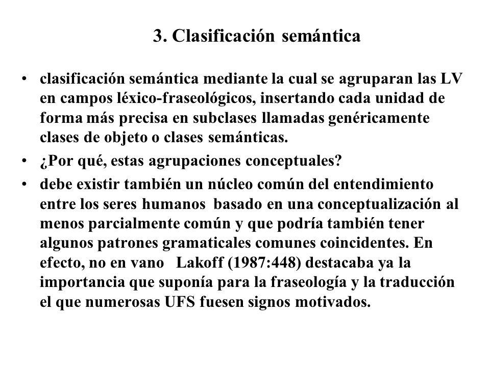 3. Clasificación semántica clasificación semántica mediante la cual se agruparan las LV en campos léxico-fraseológicos, insertando cada unidad de form