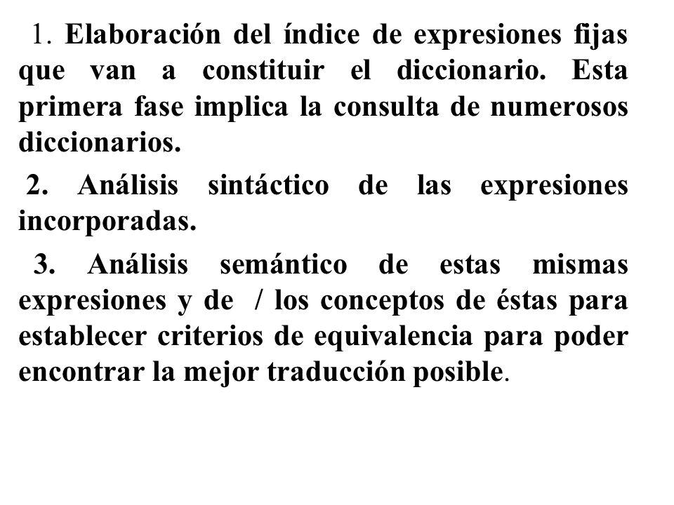 1.Elaboración del índice de expresiones fijas que van a constituir el diccionario.