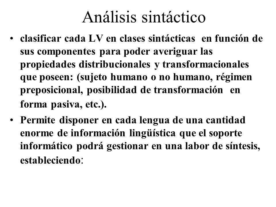 Análisis sintáctico clasificar cada LV en clases sintácticas en función de sus componentes para poder averiguar las propiedades distribucionales y transformacionales que poseen: (sujeto humano o no humano, régimen preposicional, posibilidad de transformación en forma pasiva, etc.).