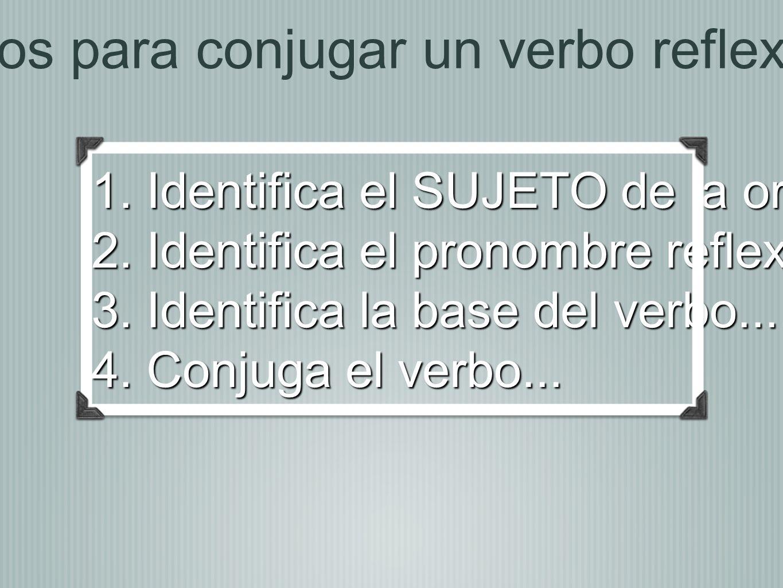 Pasos para conjugar un verbo reflexivo... 1. Identifica el SUJETO de la oración...