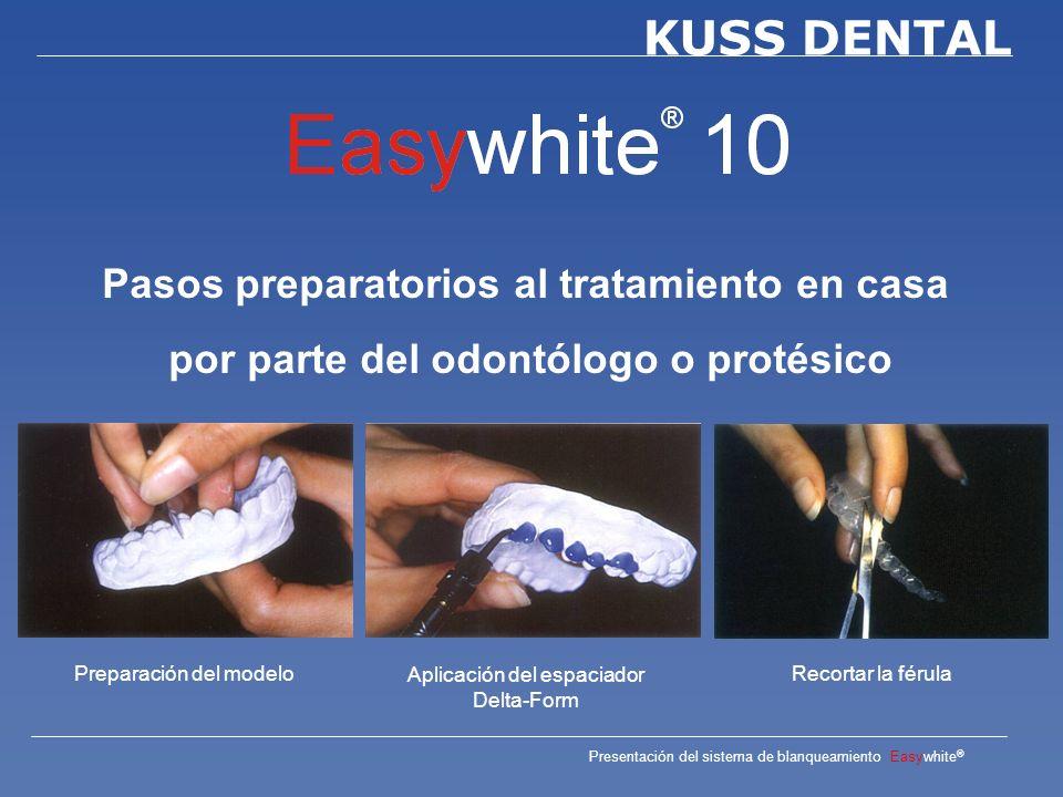 Presentación del sistema de blanqueamiento Easywhite ® KUSS DENTAL Tiempo del tratamiento Según procedimiento Home Bleaching: 2 – 4 semanas Office Bleaching: 30 – 60 minutos Walking Bleach: 1 – 3 días