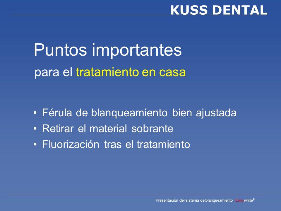 Presentación del sistema de blanqueamiento Easywhite ® KUSS DENTAL Aplicación del gel Pasos a seguir por el paciente en casa Colocación de la férula