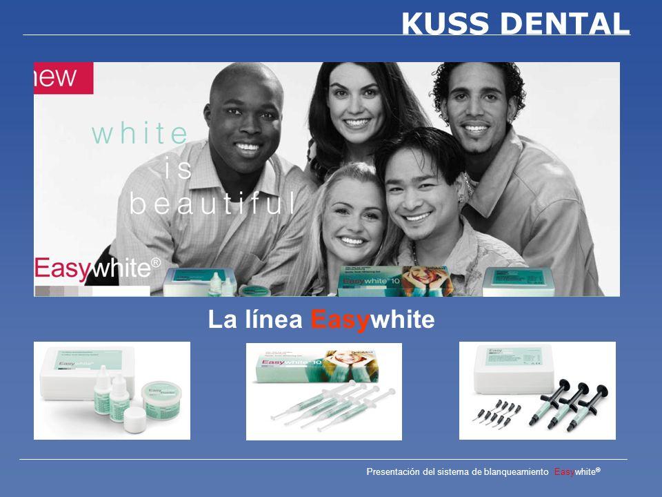 Presentación del sistema de blanqueamiento Easywhite ® KUSS DENTAL El resultado del tratamiento es reducido cuando se trata de Dientes azul gris (Colores C) Fluorosis Manchas por tetraciclina