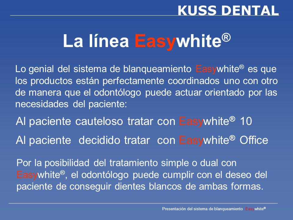 Presentación del sistema de blanqueamiento Easywhite ® KUSS DENTAL Easywhite ® 10 Es un gel premezclado para el blanqueamiento de dientes teñidos.