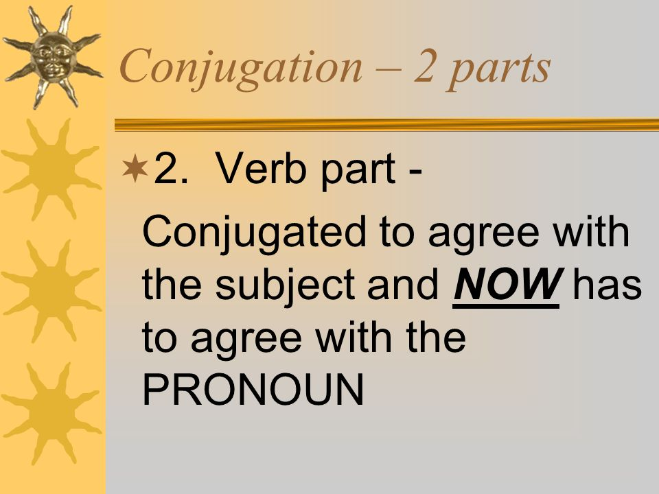 Conjugation – 2 parts 2. Verb part - Conjugated to agree with the subject and NOW has to agree with the PRONOUN