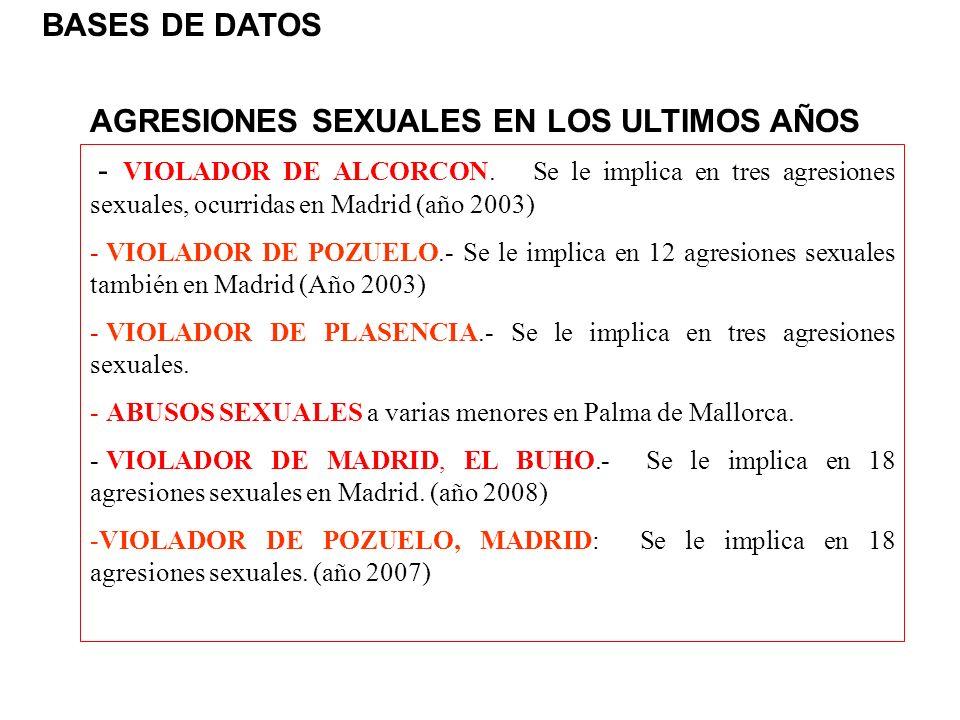 AGRESIONES SEXUALES EN LOS ULTIMOS AÑOS - VIOLADOR DE ALCORCON. Se le implica en tres agresiones sexuales, ocurridas en Madrid (año 2003) - VIOLADOR D