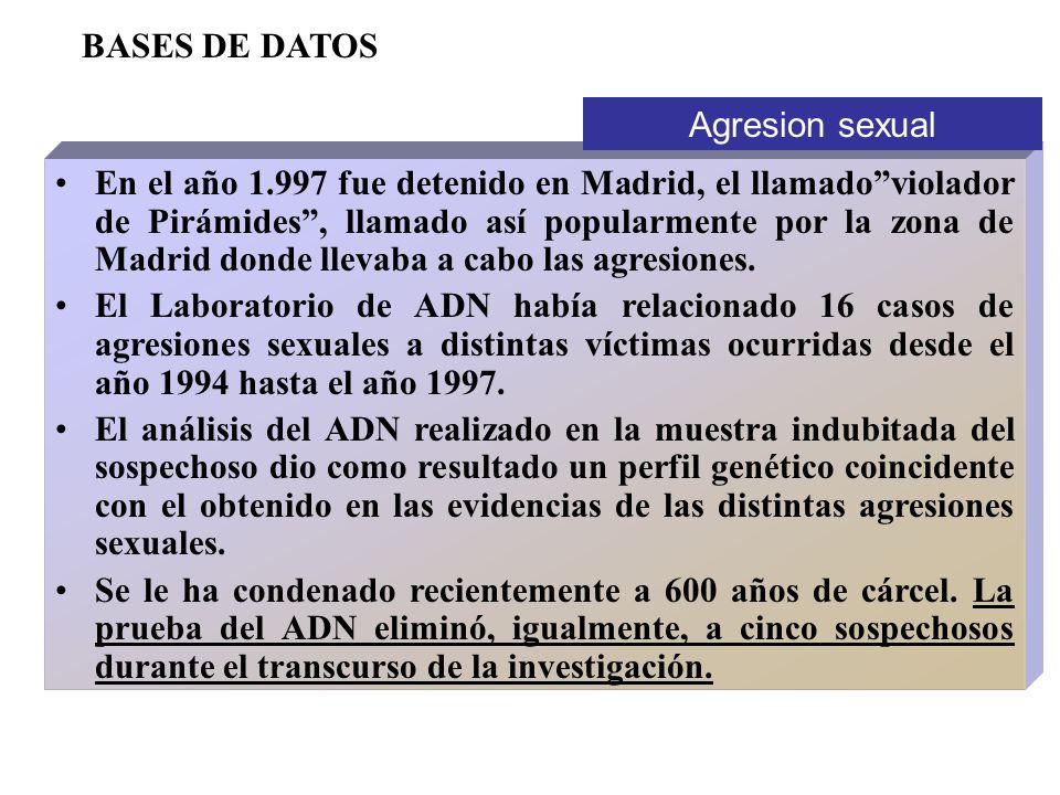 En el año 1.997 fue detenido en Madrid, el llamadoviolador de Pirámides, llamado así popularmente por la zona de Madrid donde llevaba a cabo las agres
