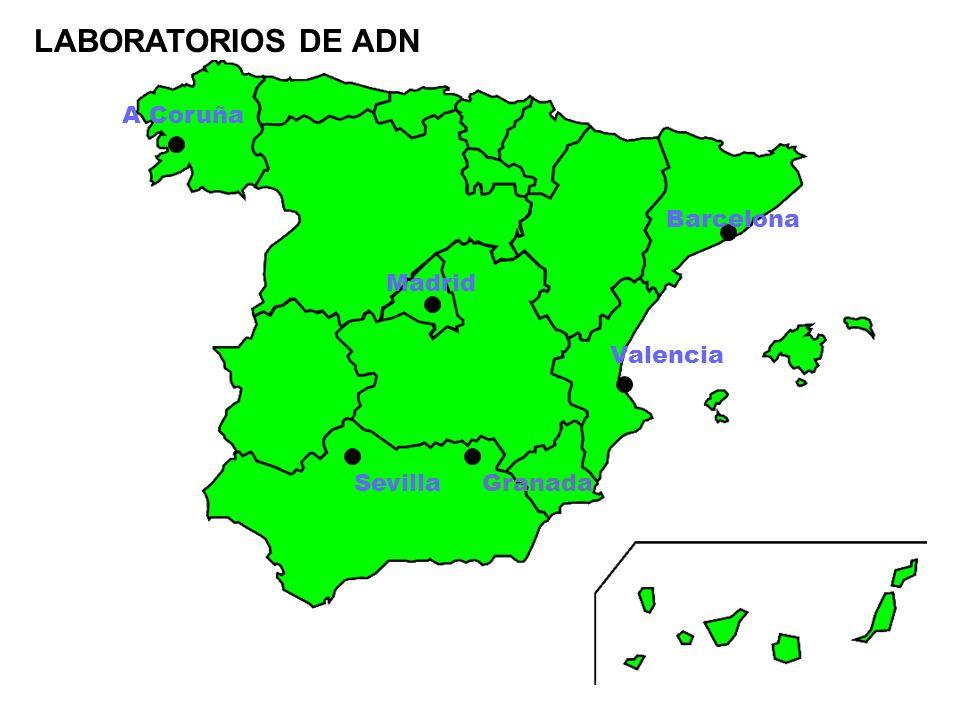 LABORATORIOS DE ADN A Coruña Madrid Sevilla Valencia Barcelona Granada