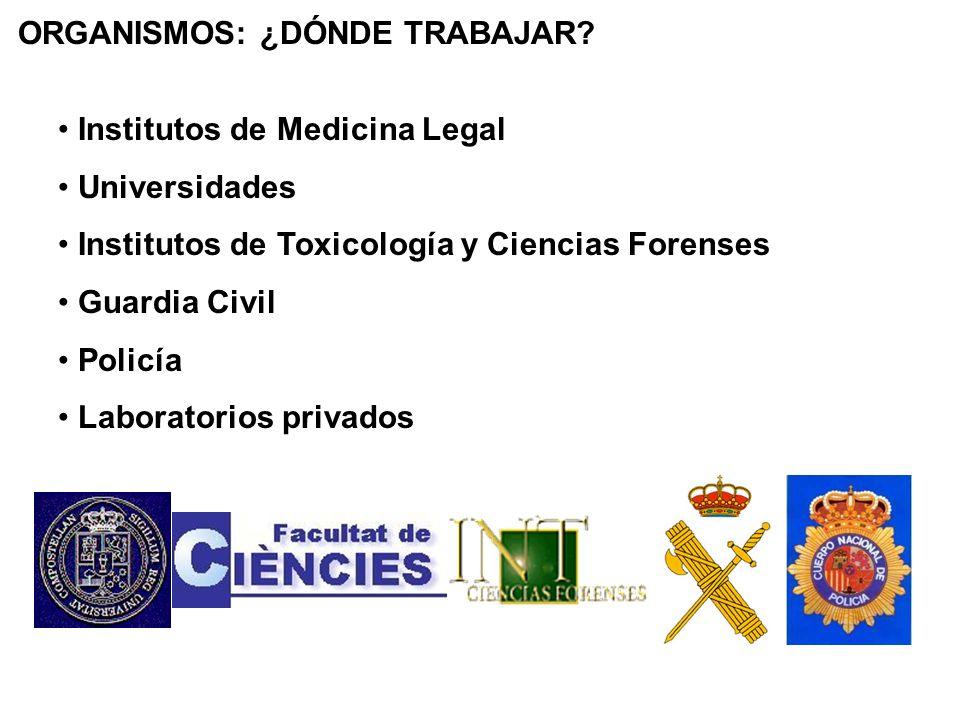 ORGANISMOS: ¿DÓNDE TRABAJAR? Institutos de Medicina Legal Universidades Institutos de Toxicología y Ciencias Forenses Guardia Civil Policía Laboratori