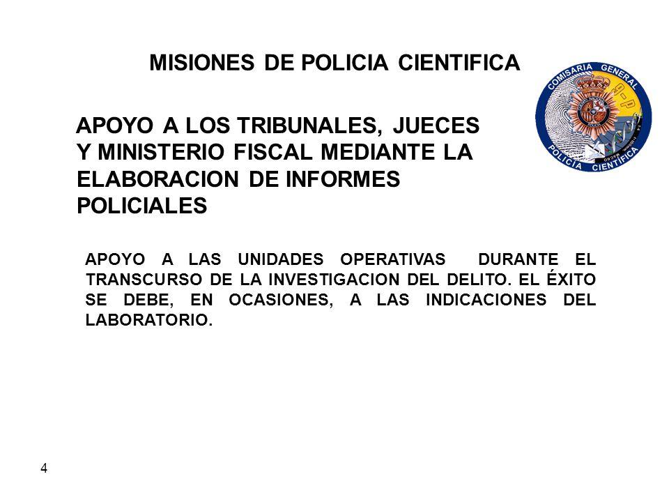 4 MISIONES DE POLICIA CIENTIFICA APOYO A LOS TRIBUNALES, JUECES Y MINISTERIO FISCAL MEDIANTE LA ELABORACION DE INFORMES POLICIALES APOYO A LAS UNIDADE