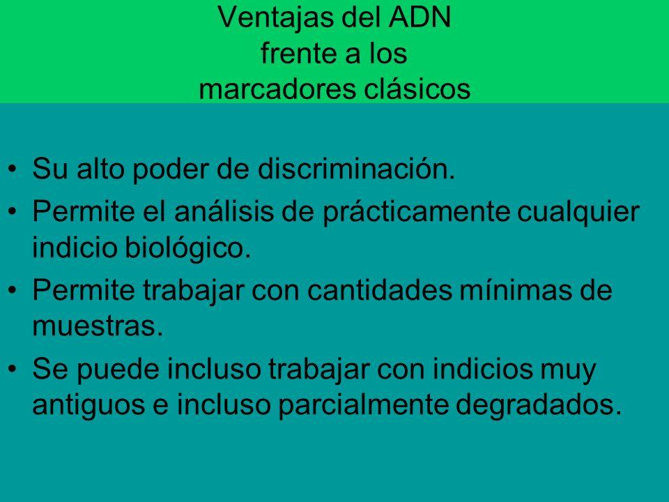 Ventajas del ADN frente a los marcadores clásicos Su alto poder de discriminación. Permite el análisis de prácticamente cualquier indicio biológico. P