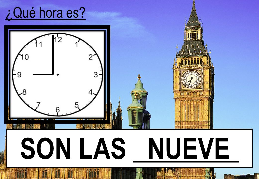 ¿Qué hora es? SON LAS ________ NUEVE