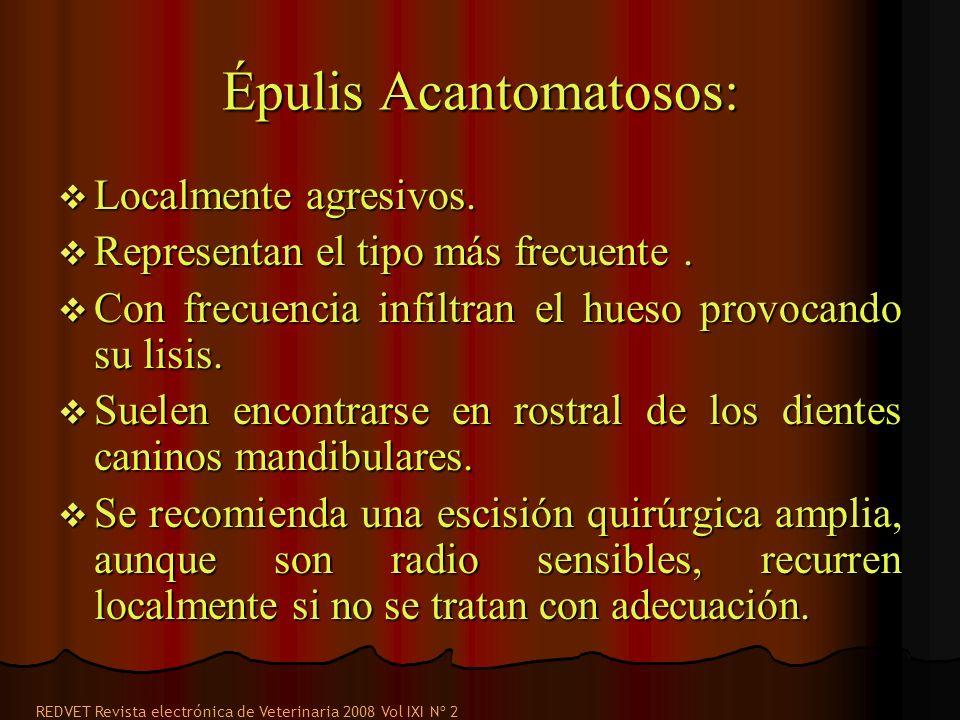 Épulis Acantomatosos: Localmente agresivos. Localmente agresivos. Representan el tipo más frecuente. Representan el tipo más frecuente. Con frecuencia