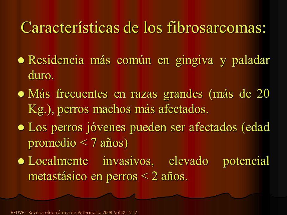 Características de los fibrosarcomas: Residencia más común en gingiva y paladar duro. Residencia más común en gingiva y paladar duro. Más frecuentes e