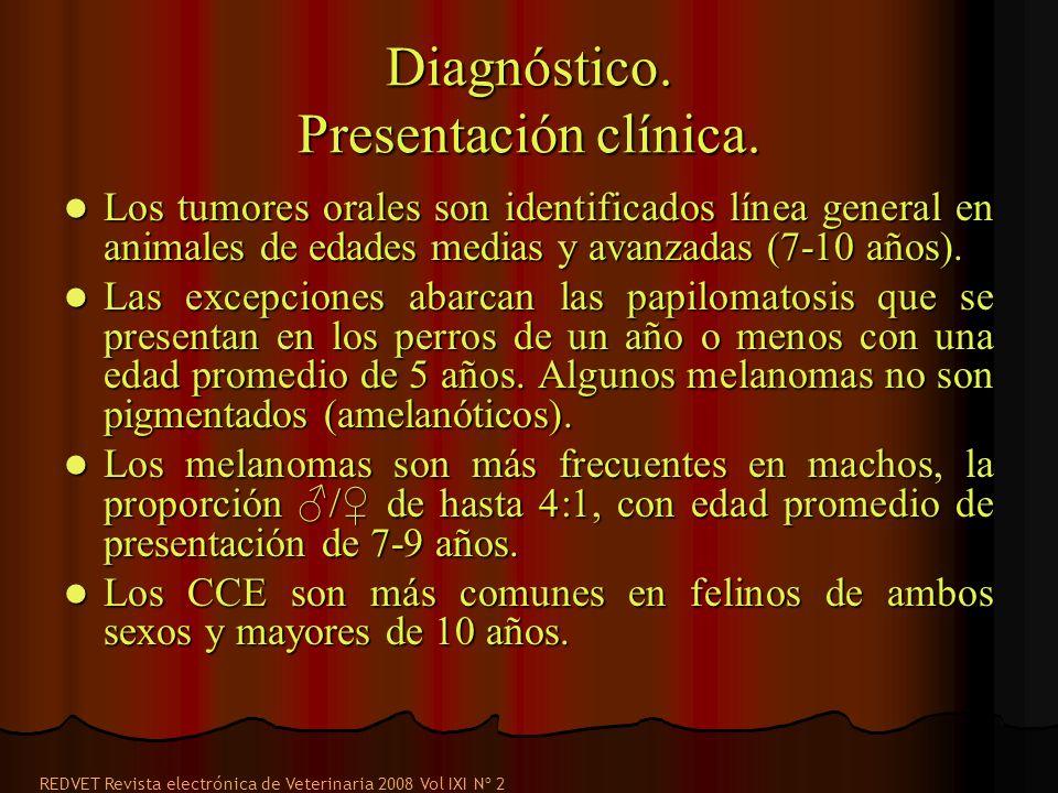 Diagnóstico. Presentación clínica. Los tumores orales son identificados línea general en animales de edades medias y avanzadas (7-10 años). Los tumore