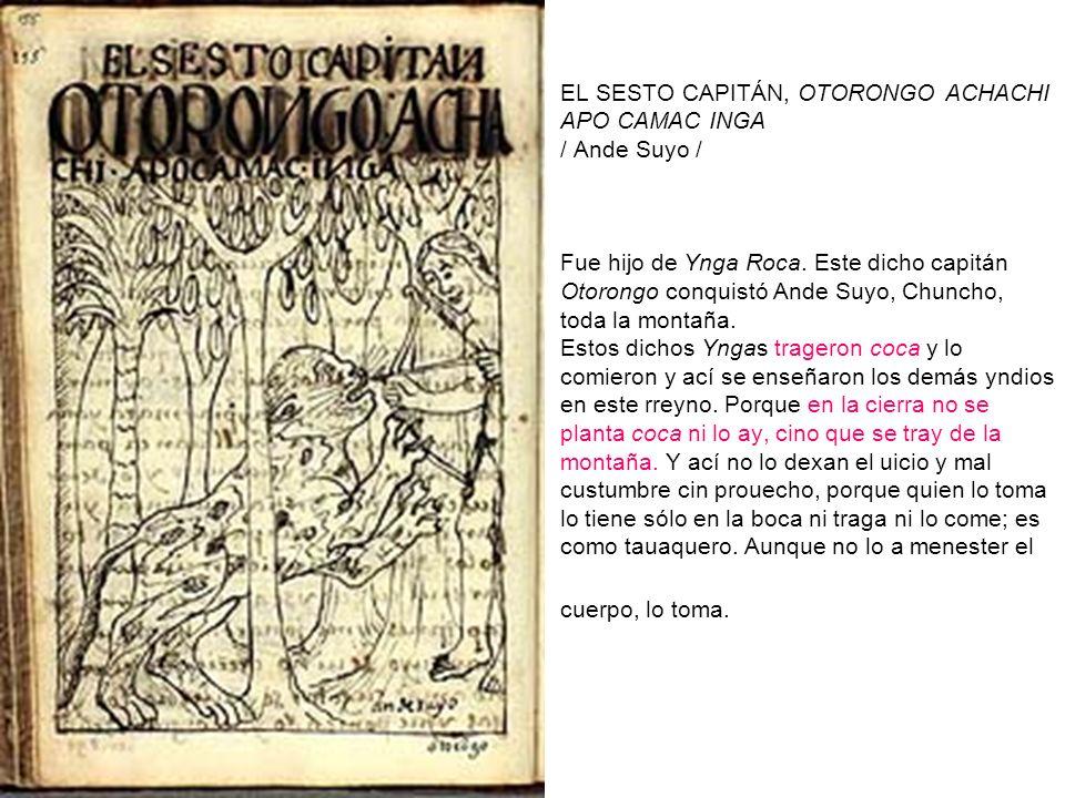 EL SESTO CAPITÁN, OTORONGO ACHACHI APO CAMAC INGA / Ande Suyo / Fue hijo de Ynga Roca. Este dicho capitán Otorongo conquistó Ande Suyo, Chuncho, toda