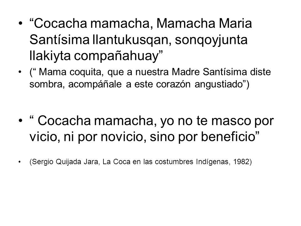 Cocacha mamacha, Mamacha Maria Santísima llantukusqan, sonqoyjunta llakiyta compañahuay ( Mama coquita, que a nuestra Madre Santísima diste sombra, ac