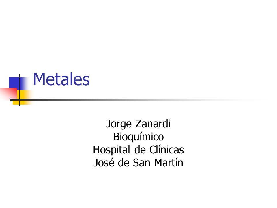 Metales Jorge Zanardi Bioquímico Hospital de Clínicas José de San Martín