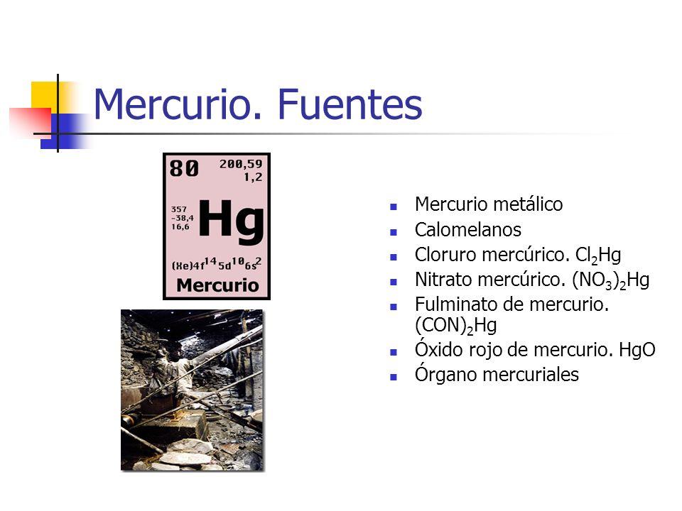 Mercurio. Fuentes Mercurio metálico Calomelanos Cloruro mercúrico. Cl 2 Hg Nitrato mercúrico. (NO 3 ) 2 Hg Fulminato de mercurio. (CON) 2 Hg Óxido roj
