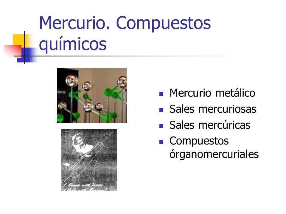 Mercurio. Compuestos químicos Mercurio metálico Sales mercuriosas Sales mercúricas Compuestos órganomercuriales